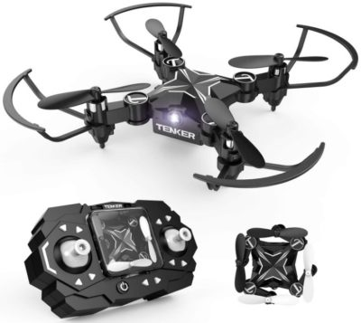This is an image of kid's mini drone with remote control in black color