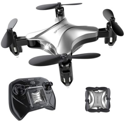 This is an image of kid's mini remote control helicopter drone in gray and black colors