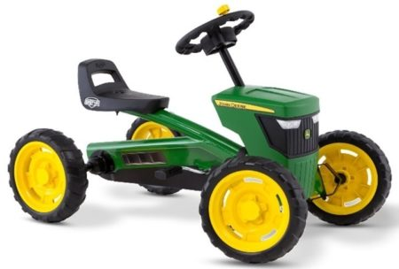 This is an image of kid's mountain ride on john deere in green and yellow colors