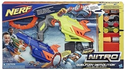 This is an image of boy's nerf nitro duel fury car race gun