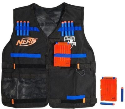 This is an image of kid's nerf tactical vest in black color