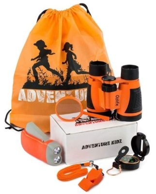This is an image of boys outdoor exploration kit has Binoculars, Flashlight, Compass, Whistle, Magnifying Glass, Backpack