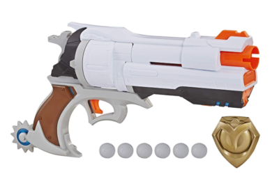 This is an image of an Overwatch McCree Nerf blaster.