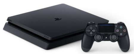 This is an image of kid's playstation 4 slim in black color