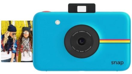 This is an image of teen's instant digital camera in blue color by Polaroid