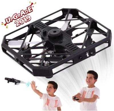 This is an image of kid's remote control drone in black color