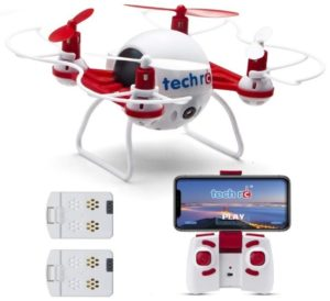 This is an image of kid's remote control mini drone with hd camera ine white and red color
