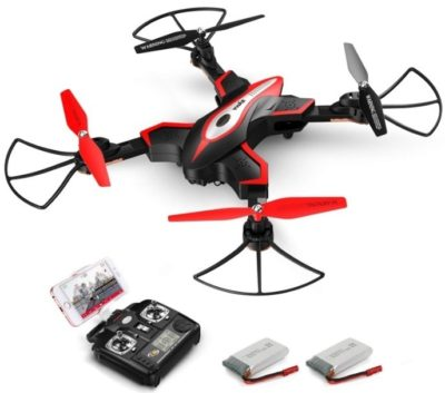 This is an image of kid's Remote control quadcopter with camera in black and red colors
