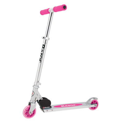 This is an image of a pink scooter for 6 year old girls.