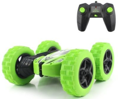 This is an image of kid's emote control sunt car in green color