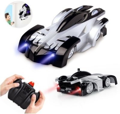 This is an image of boy's wall climbing car with remote control in silver color
