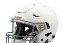 This is an image of a white youth football helmet.
