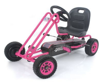This is an image of a pink pedal kart for girls.