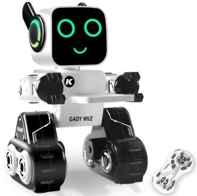 This is an image of girl's robot toy with remote control in white color