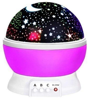 This is an image of girl's rotating starlight toy in pink color