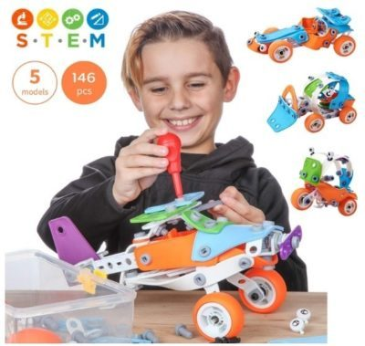 This is an image of boy's STEM building toys in colorful colors