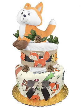 this is an image of a fox diaper cake