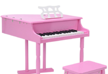this is an image of a pink toy grand piano