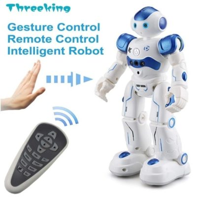 This is an image of smart robot with remote control in blue and white colors