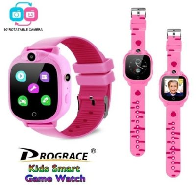 This is an image of girl's smart watch with camera and touch screen in pink color