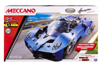 This is an image of a blue sports car building toy set for kids.