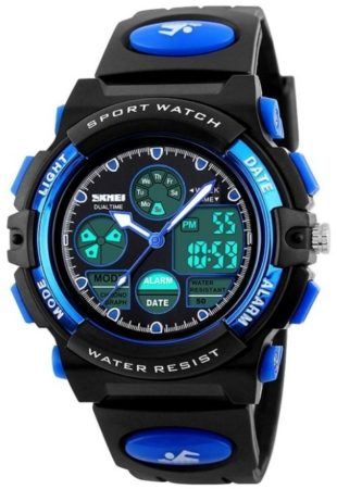 This is an image of kid's sports watch waterproof in blue and black colors