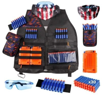 This is an image of boys tactical vest for nerf guns in black color