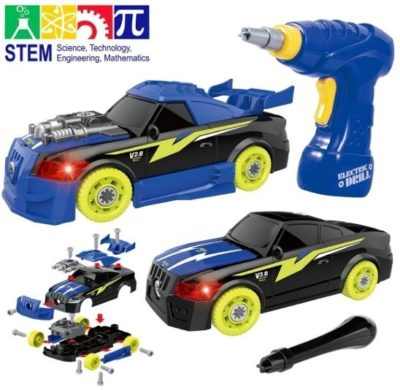 This is an image of boys racing car STEM building kit in blue color