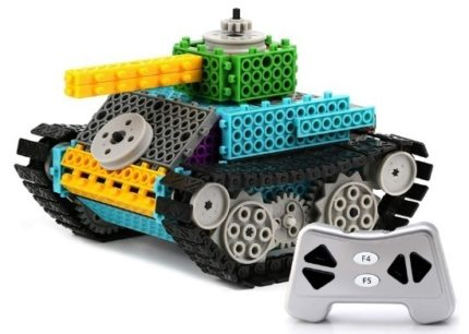 This is an image of boys tank building kit with remote control in colorful colors