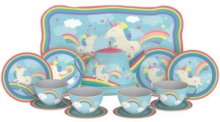 This is an image of girl's unicorn tea set with Rainbow unicorns graphics