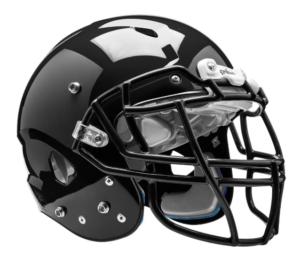 This is an image of a black football helmet for youth.