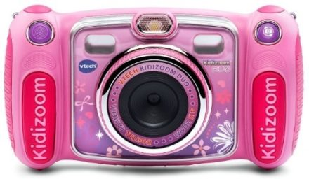 This is an image of girl's duo selfie camera by Vteck in pink color