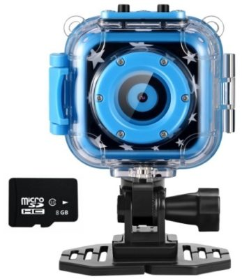 This is an image of boy's action camera in waterproof in blue color