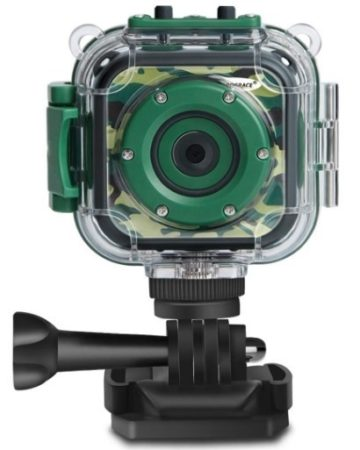 This is an image of boys digital action video camera in green camoflage color