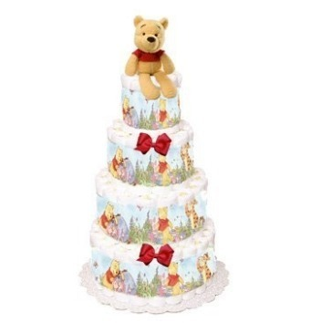 This is an image of boys diaper cake with winnier bear plush