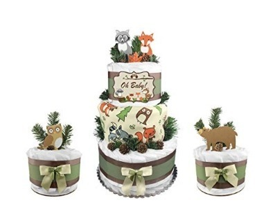 This is an image of boys woodland diaper cake