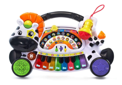 This is an image of a zebra keyboard for little kids.