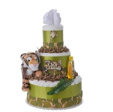 This is an image of boys diaper cake with a tiger plush in green and white colors