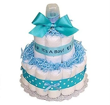 This is an image of boys diaper cake in blue and white colors