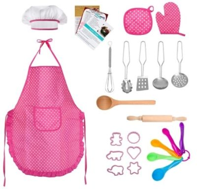This is an image of girl's role play costume chef with more tools for kitchen in pink color