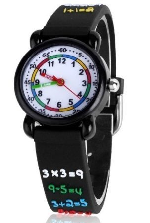 This is an image of boy's classic watch in black color