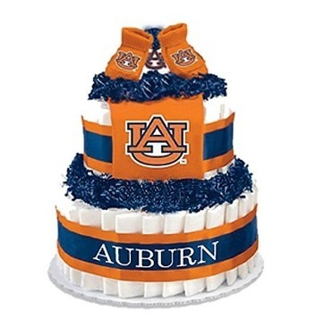 This is an image of boys diaper cake with college theme in blue and orange colors