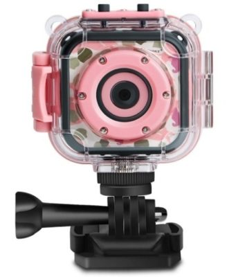 This is an image of girl's Digital 1080 pixals action camera in pink color
