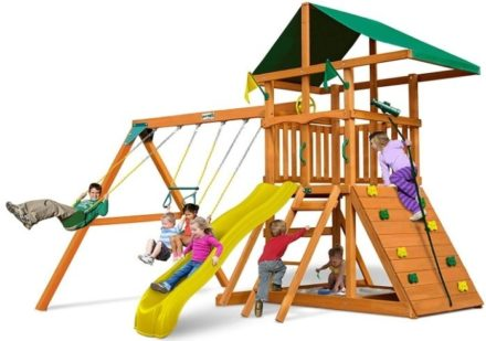 This is an image of toddler's house play with multiple climbers and sliders