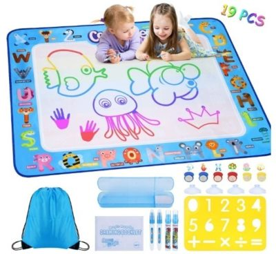 This is an image of girl's large drawing mat with 19 pieces in blue color theme