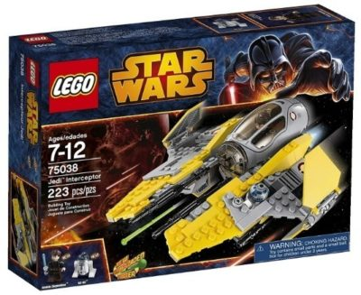 This is an image of boy's LEGO star wars version of Jedi Interceptor building kit in gray and yellow colors