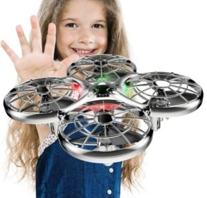 This is an image of kid's drone operated in gray