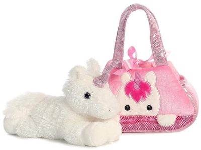 This is an image of girl's pals pet carrier with unicorn plush in white and pink colors