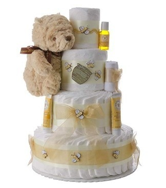 This is an image of boys diaper cake 4 layers in white and yellow colors