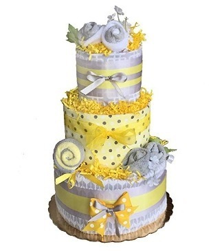 This is an image of boys diaper cake in gray and yellow colors